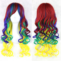 1pcs High Quality Synthetic Long Kinky Ombre Curly Mixcolor Hair Full Head Wig Cheap Soft Fake Hair Heat Resistant Cosplay Wig
