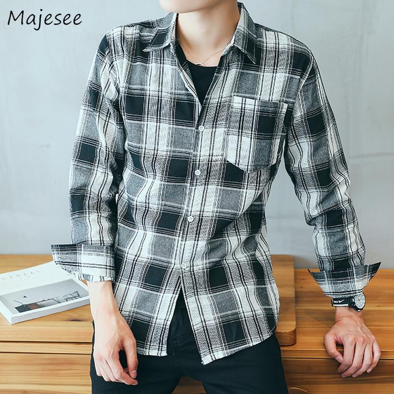 Shirts Men Turn-down Collar Plaid Simple All-match Loose Pockets Leisure Trendy Shirt Mens Ulzzang Korean Style Clothing Chic 2
