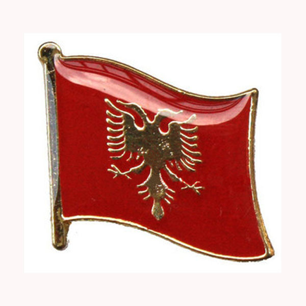 Albania Flag Pin/Single Pin Made by Iron 16mm Painted and Epoxy Surface with Butterfly Button On Backing MOQ100pcs Free Shipping