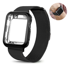 Milanese Stainless Steel Band For Apple Watch Series 1 2 3 Magnetic Loop Clasp Replace Wrist Strap with Soft TPU Protection Case