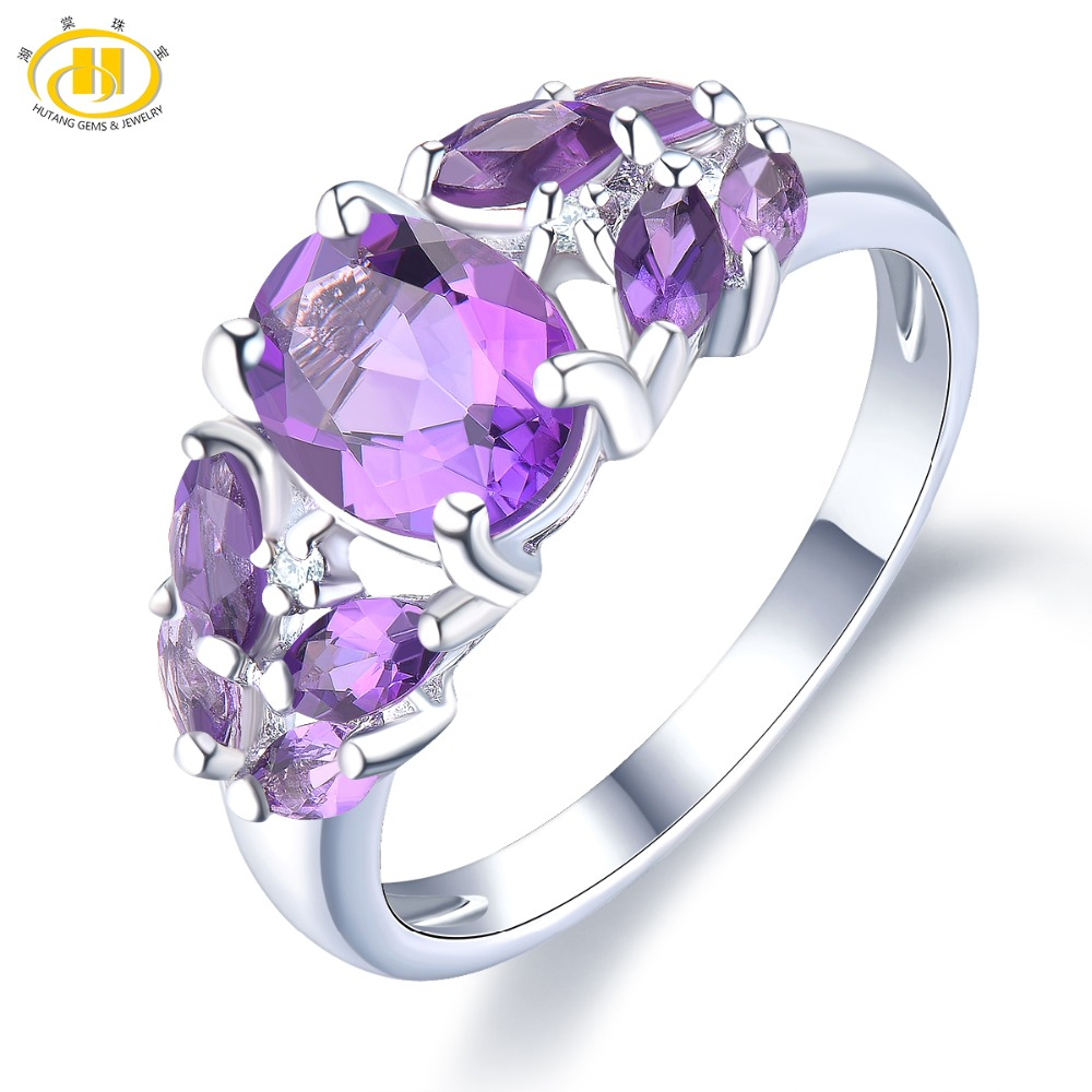 Hutang Engagement Wedding Rings Amethyst Natural Gemstone Solid 925 Sterling Silver Ring Fine Stone Jewelry for