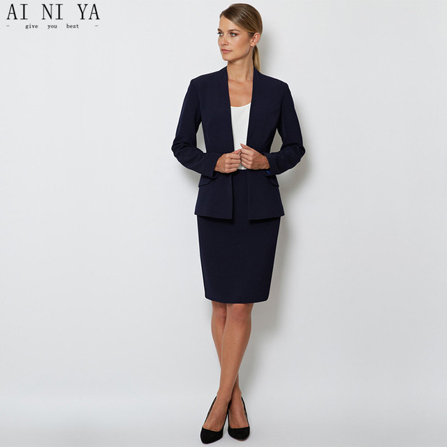 Jacket+Skirt Navy Women Business Suits Blazer Female Office Uniform Skirt 2  Piece Suits Ladies Winter Formal Suits Custom 7a5751e6bb