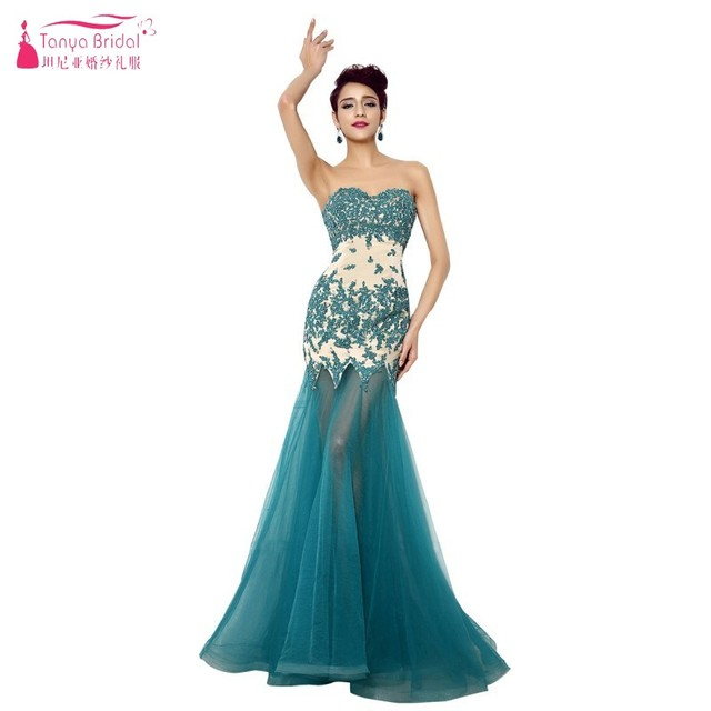 Sweetheart Long Prom Dresses Short Inside Long outside Teal Green ...