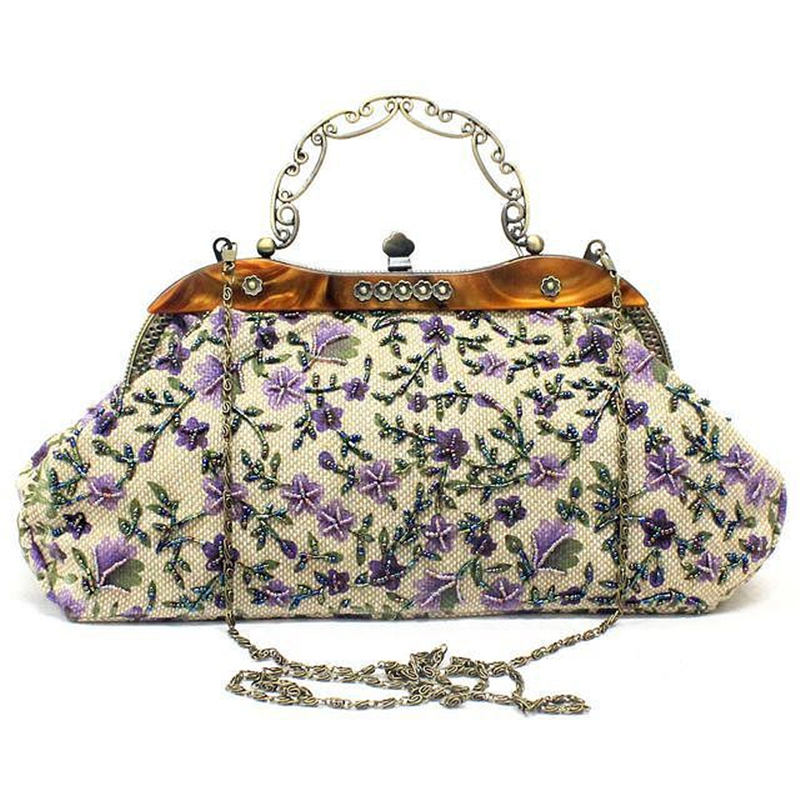 Women Clutch Bags Beads Evening Ladies Beaded Embroidered Wedding Party Bridal Handbag Small Handmade Flower Women Chain Bags women evening handbag beads clutch bags wedding party bridal purse bag vintage embroidered flower ladies totes bags