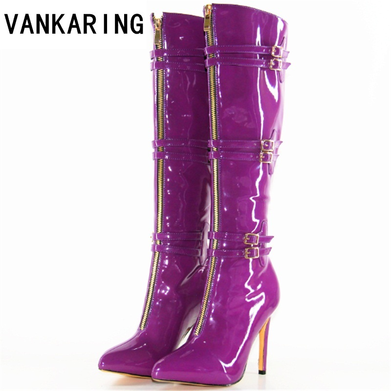VANKARING fashion microfiber leather boots shoes women knee high boots sexy pointed toe cowboy boots women high heel riding boot cicime summer fashion solid rivets lace up knee high boot high heel women boots black casual woman boot high heel women boots