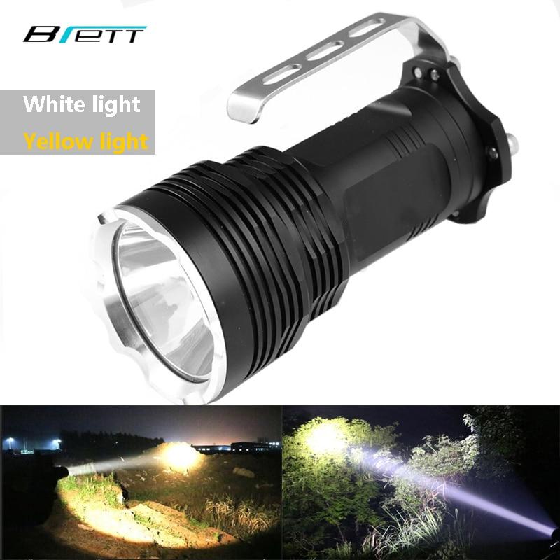 Φανός οδήγησε XM-L2 Λευκό ή T6 κίτρινο μπορεί να επιλέξει Shock Resistant φορητό λαμπτήρα Κάμπινγκ Περιπέτεια Κυνήγι LED Searchlight