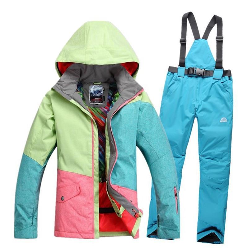 Prix pour 2017 ropa mujer de ski costume 5 sortes de couleur pantalon coupe-vent Respirant la chaleur En Plein Air ski veste femmes manteau campera nieve mujer