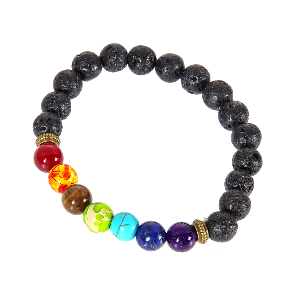 Multicolor Lava Rock Stone Beads String Healing with White Natural Stone Bead Bracelet for Men and Women