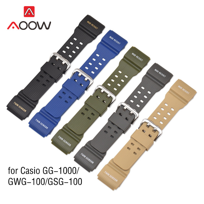 Resin Watchband For Casio G-Shock GG-1000 / GWG-100 / GSG-100 Men Sport Waterproof Replace Bracelet Band Strap Watch Accessories