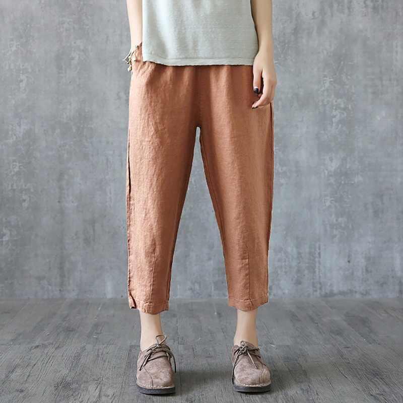 NIBESSER pantalones de lino de mujer pantalones de verano Capris sueltos de tela fina de lino pantalones de algodón de Color sólido Harem pantalones de talla grande para mujer 2019