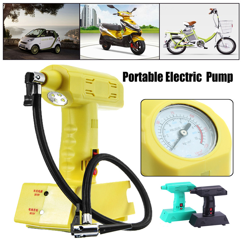 12V Rechargeable Portable Electric Car Bike Pump Air Compressor Tire Inflator High Quality dc 12v double cylinder air pump compressor car tire tyre inflator kit