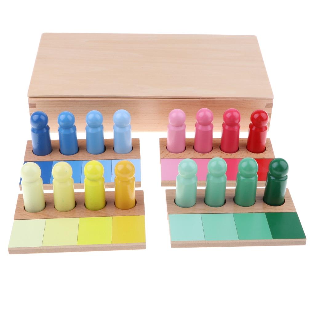 Montessori Material didáctico-juguete de madera de gradiente de Color de los niños de educación temprana