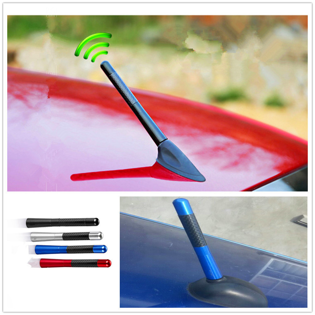 Car Styling 12cm Carbon Fiber roof Short <font><b>Radio</b></font> signal Antenna for <font><b>Volvo</b></font> Universe C30 S80L <font><b>C70</b></font> V50 S40 image