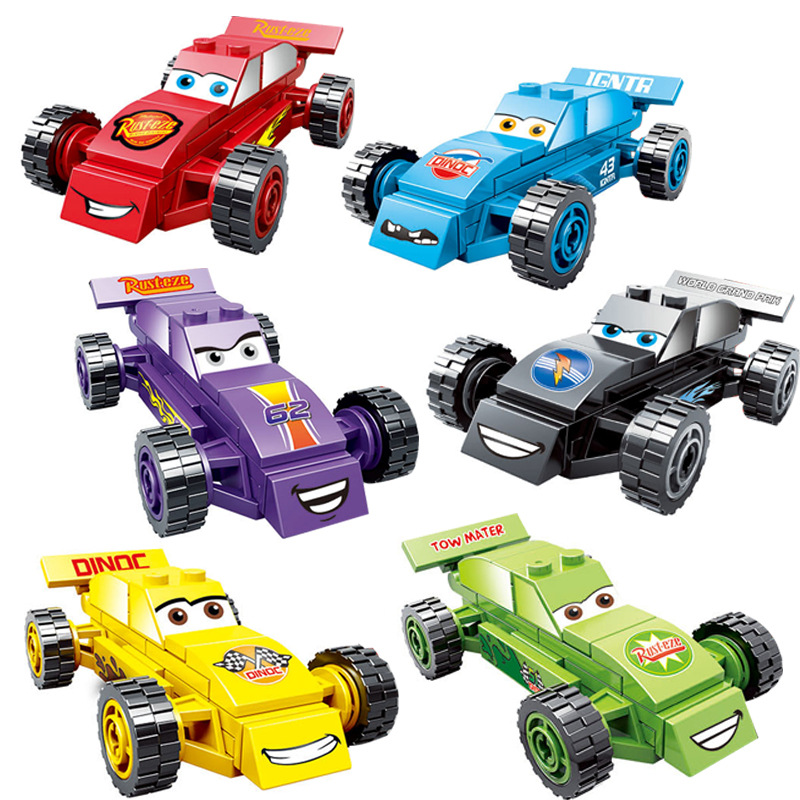 Building Block DIY Bricks Playmobil Racing Car Pixar Cars Educational Toys for Baby Children Boy Compatible with LegoINGlys