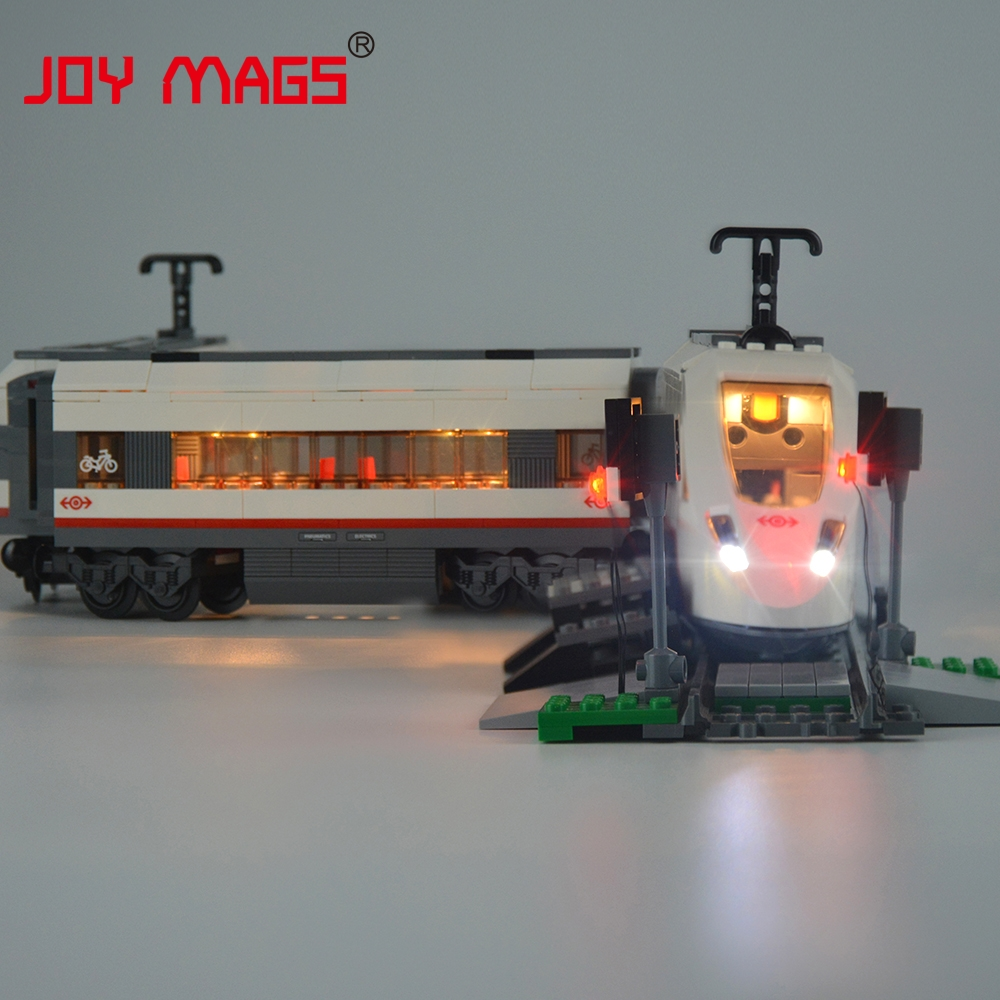 JOY MAGS Only Led Light Up Kit For Trains High-Speed Passenge Building Blocks Compatible With Lego 60051 And 02010 joy mags only led light set building blocks kit light up kit for creator series f40 car compatible with lego 10248 21004