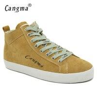 Marque CANGMA Feminino Lace Up Calçado Sneakers de Couro Genuíno Para Meninas Sapatos Casuais Sapatos de Camurça da Vaca das Mulheres Meados Amarelo Lazer sapatos