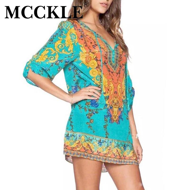 Mcckle mujeres summer dress 2017 de la vendimia de boho print playa de la gasa v
