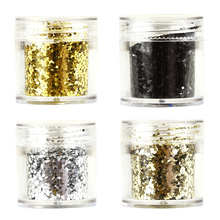 1 Box 10g Mermaid Paillette Sequins Nail Powder Glitter Pure Black Gold DIY For UV Gel Polish MERMAID GLITTER 10ML