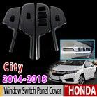for Honda City GM6 Grace Ballade 2014 2015 2016 2017 2018 Chrome Carbon Fiber Window Switch Panel Cover Accessories Car Sticker