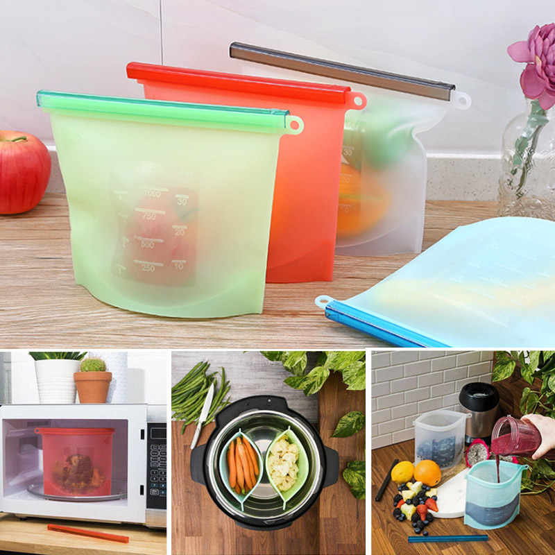 Silicone Food Storage Bags Reusable Fresh Bag Vacuum Sealer for Fruit Meat Milk High and low temperature resistance UYT Shop
