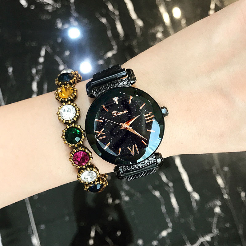 Montres femmes de luxe marque dame cristal montres bracelets ciel étoilé mode femme Quartz dames aimant sangle boucle libre montres-in Montres femme from Montres    3