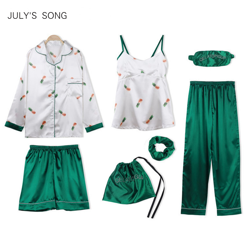JULY'S SONG Women's 7 Pieces   Pajamas     Sets   Faux Silk   Pajamas   Women Sleepwear   Sets   Autumn Winter Sexy Soft Sweet Cute Nightwear
