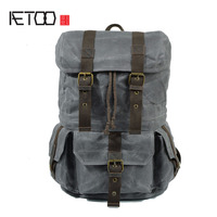 AETOO Retro Waterproof Batik Canvas Shoulder Bag With Crazy Horse Leather Men S Photography Bag SLR