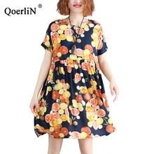 QoerliN Lemon Pattern Dress Summer Beach Women Big Size Colorful Robe Female  Boho Sexy Short Mini Girls Streetwear