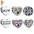 European 925 Sterling Silver Clover Gold Plated Bow Mom Bead Crystal Heart Charm Beads Fit Pandora Bracelets For Women Jewerly