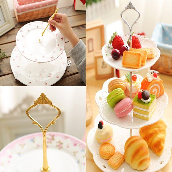 Completely new New Hot 3 or 2 Tier Cake Plate Stand Handle DIY Crown Fitting Rod  WI49