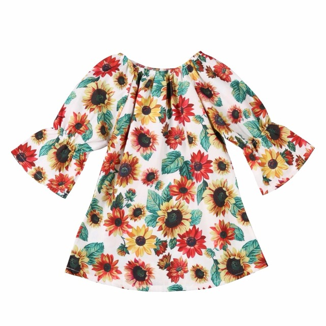 60feded48df WEIXINBUY Girls Dress New Summer Style Girls Clothes Sleeveless Sunflower  Print Design Dresses Children Clothes 1-6Y