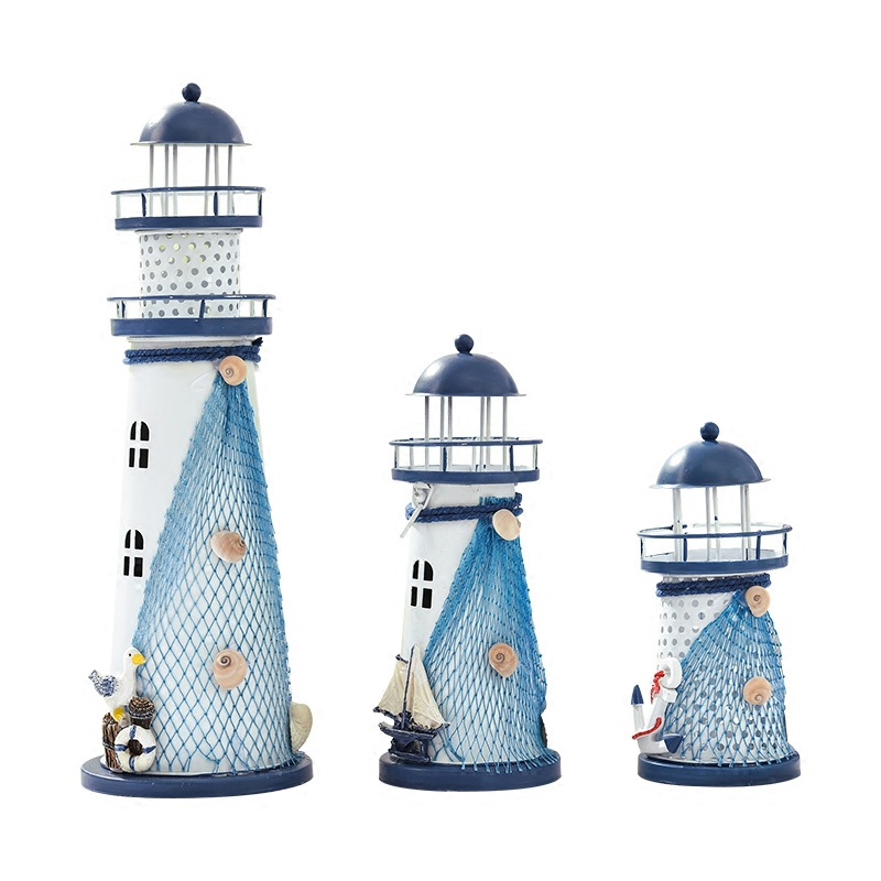 Mediterranean Style Flash Ocean Lighthouse Ornaments Iron Crafts Home Desktop Decoration Accessories Birthday Gifts