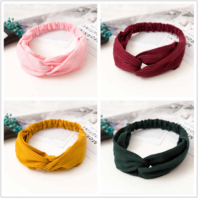 Women Knitting Soft Solid Headbands Vintage Cross Knot Elastic Hairbands Bandanas Girls Hair Bands Hair Accessories