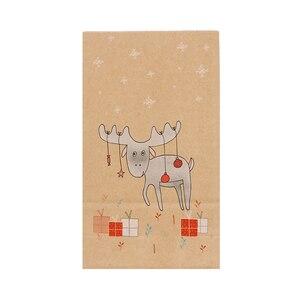 Image 5 - 12PCS חג המולד קראפט שקית נייר חג המולד מדבקות סט שועל איילים מתנת נייר שקית מדבקות חג המולד סוכריות מזון עוגיות אריזה נייר שקיות