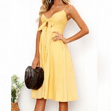 Womens Dresses Summer Tie Front V-Neck Strap Button Down A-Line Backless Dress NO521