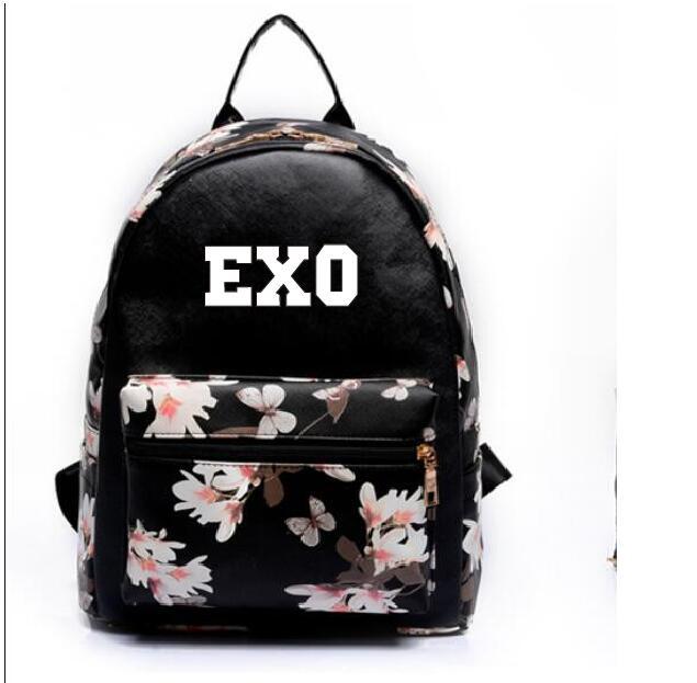 kpop 2018 new Leisure pu backpack exo sehun The same paragraph Girls Mini models Korean version College Wind school bag