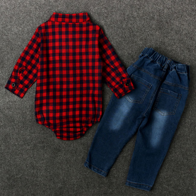 287080efc 1st Birthday Outfits For Baby Boy Denim Set Clothes Bow Tie Plaid Bodysuit  Top+Jean Trouser 2PC Suit New Born Kit Tracksuit 0 2T-in Clothing Sets from  ...