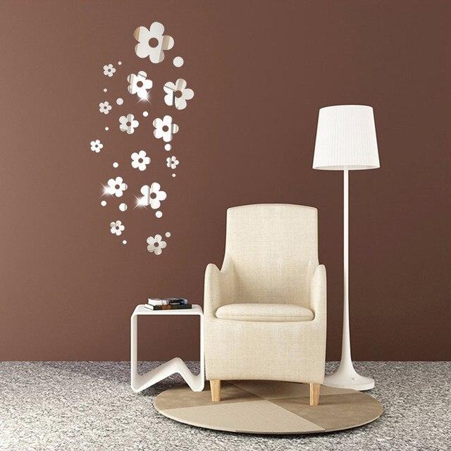 14 Teile Lose Blumen Neue Folie Spiegel Wandaufkleber Selbstklebende Aufkleber Diy Wand Tapete Für