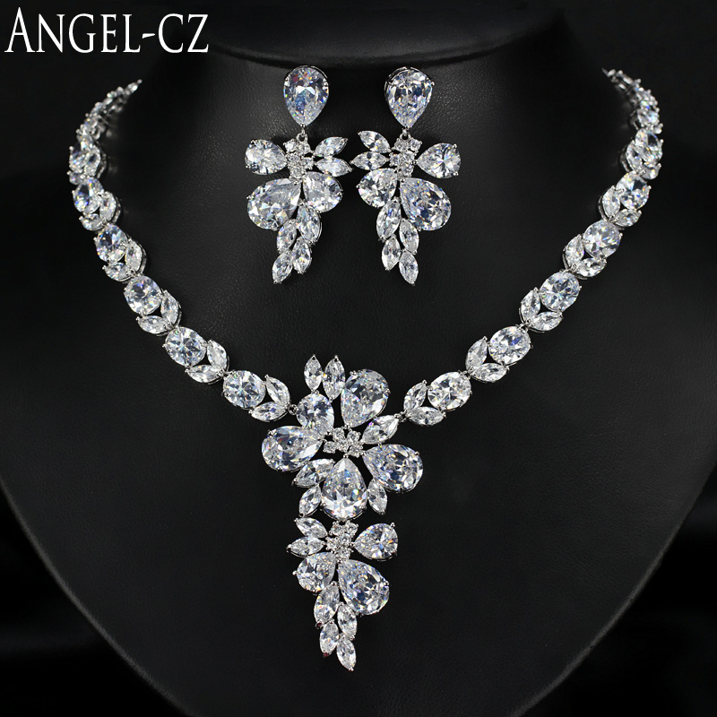 ANGELCZ Stunning Wedding Engagement Jewelry Set For Women Shining Cubic Zirconia Big Flower Pendant Necklace And Earrings AJ062 a suit of stunning faux pearl rhinestoned necklace and earrings for women