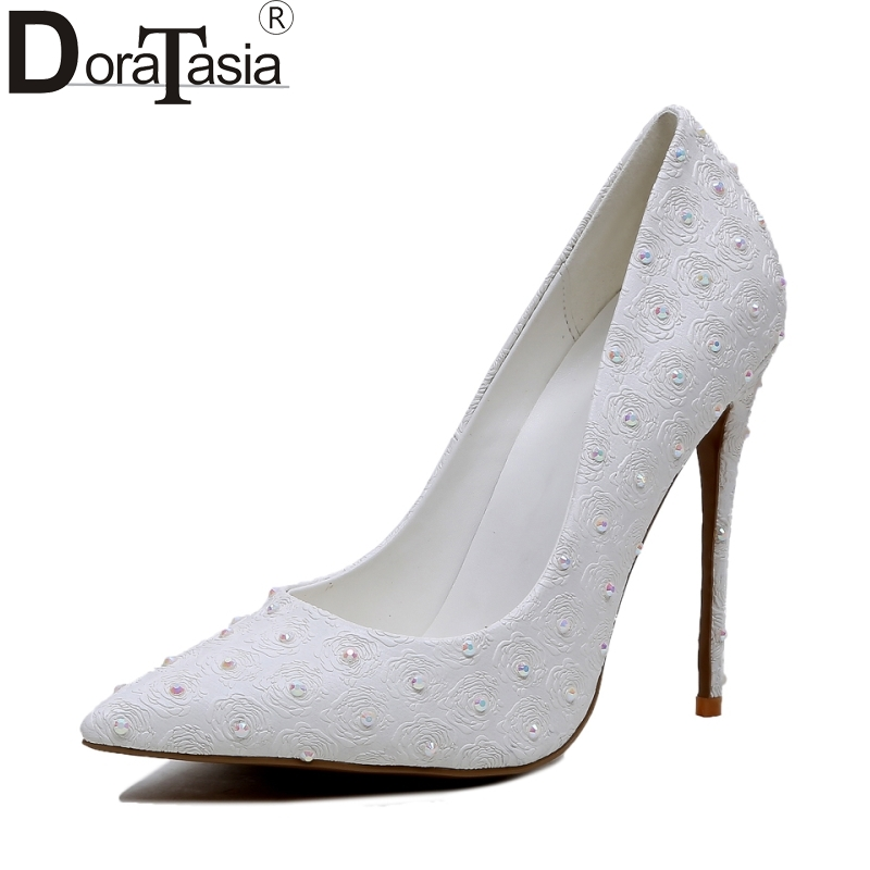 DoraTasia big size 34-43 sexy pointed toe Bride shoes women princess super high heels wedding party dating shoes white pumps doratasia embroidery big size 33 43 pointed toe women shoes woman sexy thin high heels brand pumps party nightclub