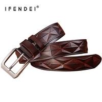IFENDEI 2017 Fashion Belts Men Pin Buckle 100 Leather Belt Youth Wild Retro Cowhide Plaid Waist