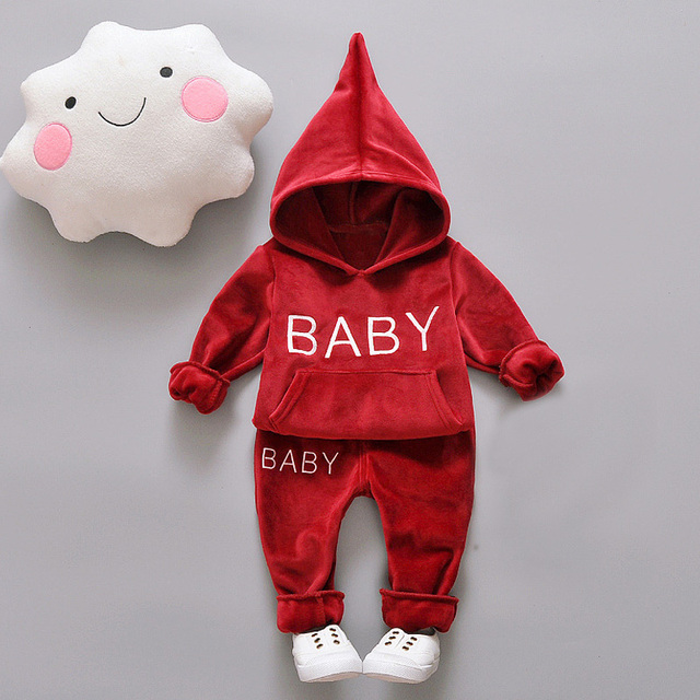 "2-Piece Baby / Toddler Letter Print ""Baby"" Hoodie with Pants Set [4 color variations]"