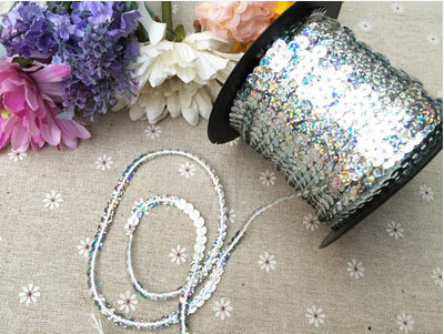 10-100yards 6mm silver Color Sequins Sequin Band Webbing Ribbon Cord Rope for Clothes Ta ...