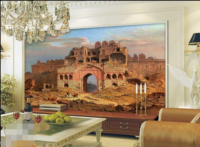 3d wallpaper custom mural non woven Delhi city ruins front door Landscape painting background wall murals