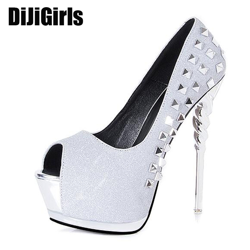 glitter Stiletto heels Women Shoes High Heel pumps Rivets black heels Prom Shoes Woman pumps silver wedding shoes pumps X582 free shipping red bottom glitter spikes high heels spikes prom shoes with silver and black rhinestones spikes evening pumps