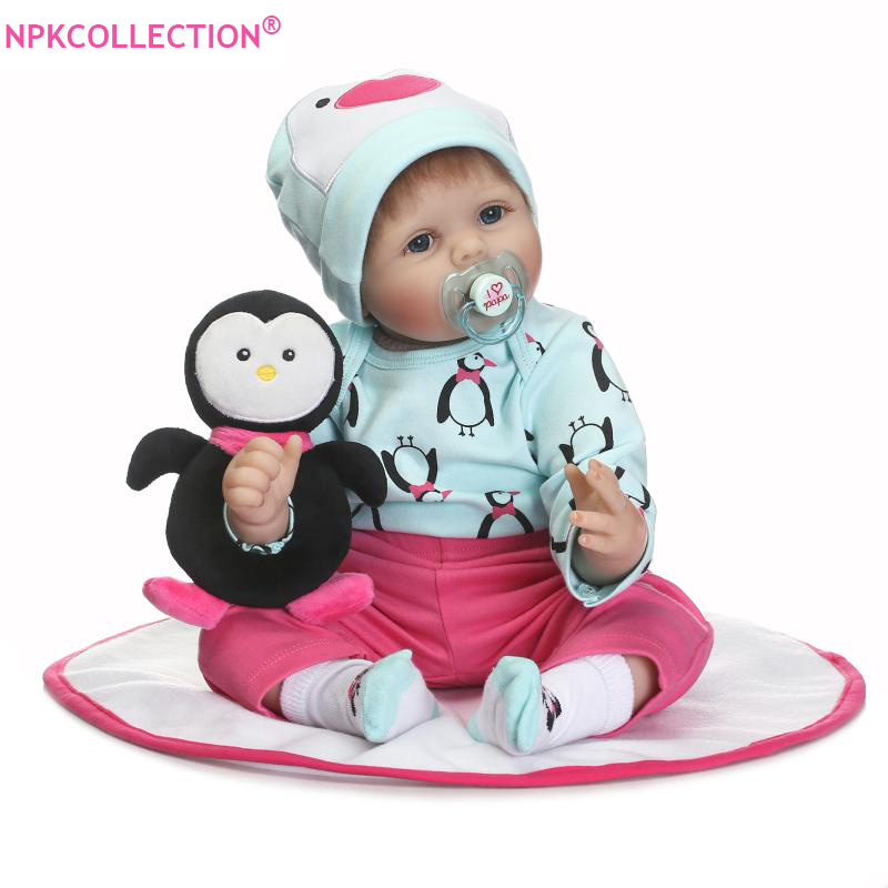 55cm Silicone Reborn Baby Doll with Free Penguin Plush Toy of Newborn Girl Babies Dolls for Kids Children Gift Girls Brinquedos penguin trap interactive ice breaking table penguin trap antistress toy activate fun toy for kids family funny game zg007
