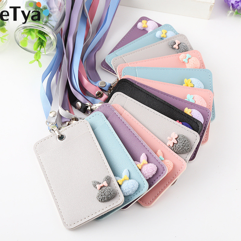 ETya Students Cartoon ID Bus Card Holder Wallet Women Leather Card Cover Lanyard Bags  Girl Cute  Door Work Identity Badge Pouch