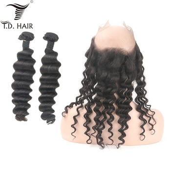 Peruvian Deep Wave Hair Bundles With 360 Frontal Natural Color Unprocessed Human Hair Bundles with Frontal Cuticle Aligned image