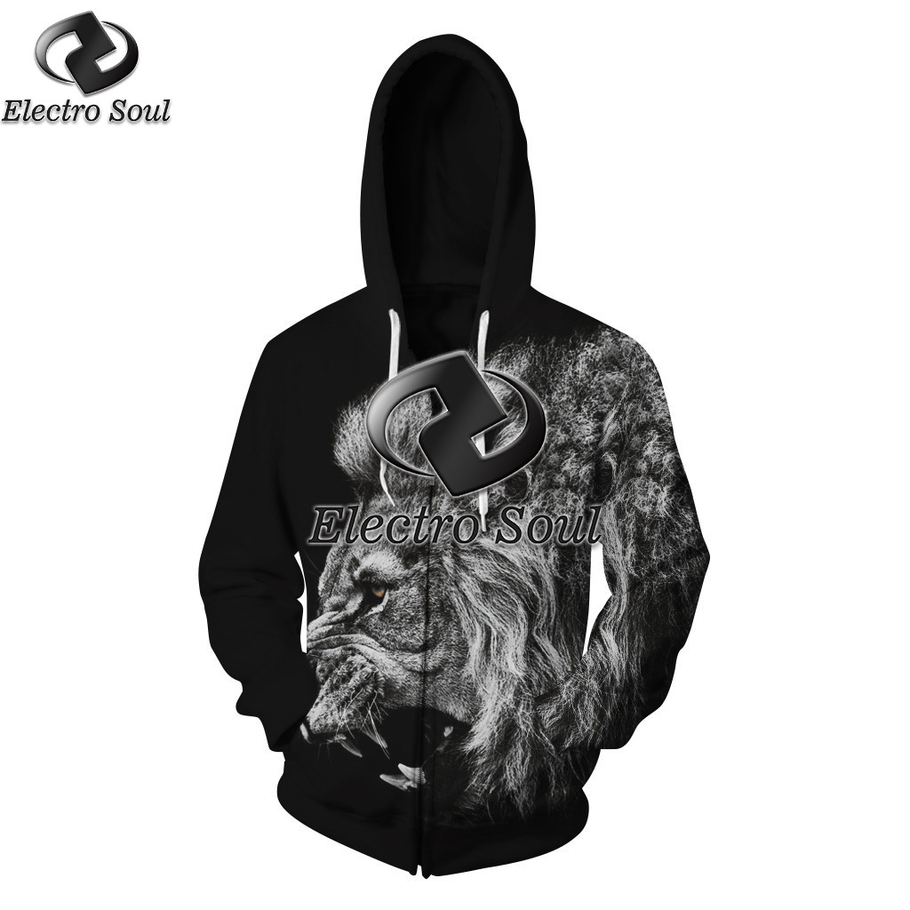 Zipper Hoodie Sweatshirts Pullovers Autumn Tracksuit Streetwear Hoody 3D print Lion digital stamp with cap and velvet zipper