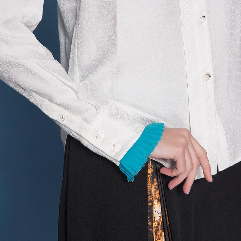 Dames Hauts Femmes Chemise Voa Bureau Grande En Décontracté Chemisier Base B792 Taille Blanc Soie Manches Automne Doux À Jacquard De Longues Blusas tZX6SXqw